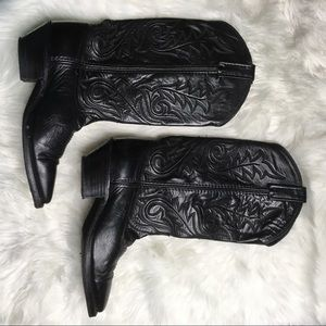DAN POST Black Leather Cowgirl Western Boots Sz 7M